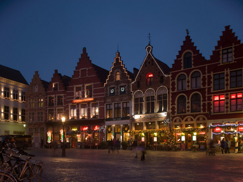 Fig. 3.  The square in the middle of Bruges, Belgium photographed just after sunset when scattering makes the sky very blue.  Photograph: John Watkinson, Mamiya 645, shift lens.