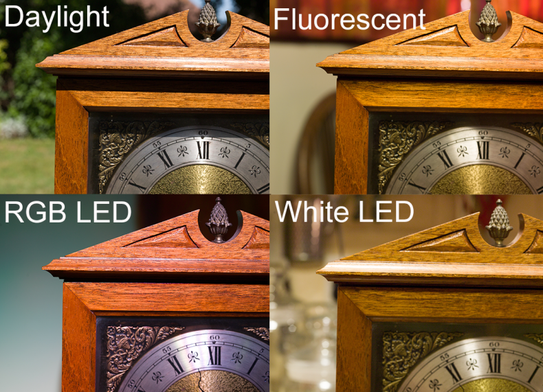 Fig.2 - The same mahogany clock was photographed with four different light sources, sunlight, fluorescent tube, white LED and RGB LED. The pictures were balanced to get the silver and gold of the dial more or less similar, leaving the appearance of the wood dramatically different in each. It is impossible to match the wood using color correction as with narrow spectrum light sources the information is simply not there. (Mamiya 645, macro lens)