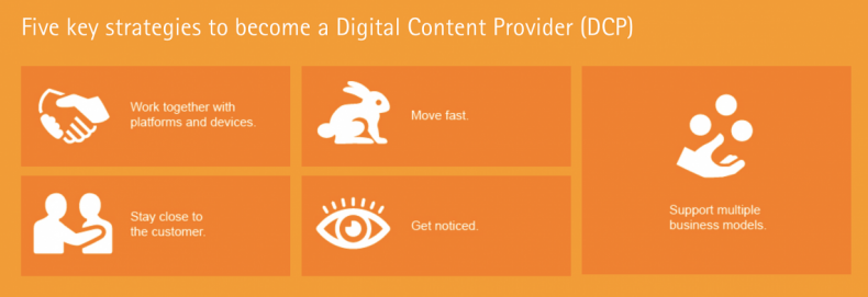 Digital Content Providers (DCPs) are a new breed of business looking to serve content across a wide array of different digital channels, including OTT and IP distribution. Sometimes DCPs will offer content directly to consumers; in other cases, they will provide it through collaboration with Digital Content Aggregators.