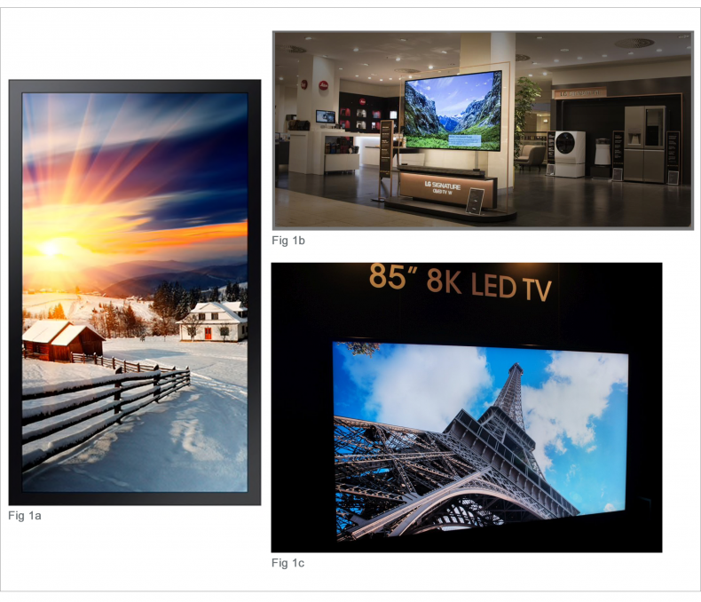 1a) Samsung QLED OH 85-F.  1b) range of display environments.  1c) 8K home theater.  1a) Today's larger, brighter displays pose significant challenges to DOPs as our images are viewed increasingly in non-traditional ways, even vertically outside on 3000nit screens!  1b) In the USA and around the world, as viewers draw closer to their screens, a 65-inch TV is considered now at the minimum. 1c)  Can 8K sets be far behind?