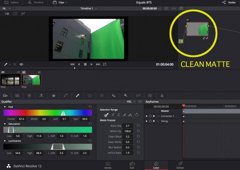 The keyer now requires only a single stroke to define a matte in green screen composites. With the 3D tracker and color matching this can greatly facilitate the coordination of foreground and background elements. Pretty much every digitally captured production these days requires some degree of color grading and correction. DaVinci Resolve for all its many new attributes continues to expertly fill that need.