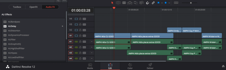 For most broadcasters Resolve 12's integrated audio editor is insufficient. Despite a few nifty features like a Touch function that allows setting key frames on the fly, it does not offer a noise print reduction function, for example, or the ability to record a live narration. Most facilities will want to output sequences and clips to a more capable audio editing tool like ProTools. Currently there is no simple SEND TO function to Apple Logic.