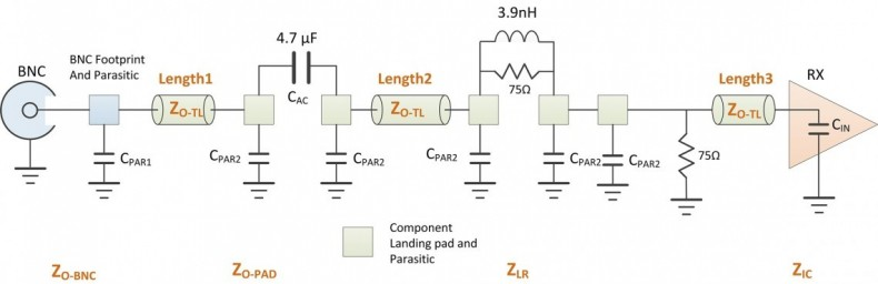 Figure 7: Simplified circuit showing PCB parasitic elements