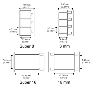 Figure 1: Film formats—Super 8, 8mm, Super 16, and 16mm