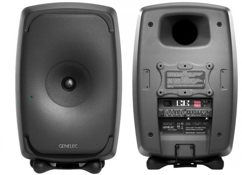 Front and rear views of the new Genelec 8351 three-way coaxial audio monitor. Note the absence of a visible bass driver