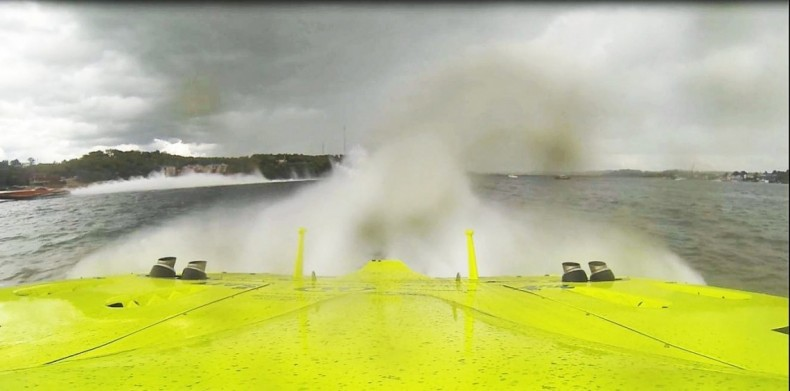A GoPro shows the view over the transom of Miss Geico racing at over 160 MPH. Note the competing powerboat on the left. The competitor later cut inside a course buoy and was disqualified, thanks to the on-board GoPro video.