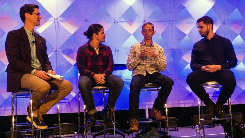 Promaxbda Panel on technology in storytelling. (L-R) Andy Baker, Filipe DeAndrade, Mike Castellucci, Joey Lawrence.<br />
