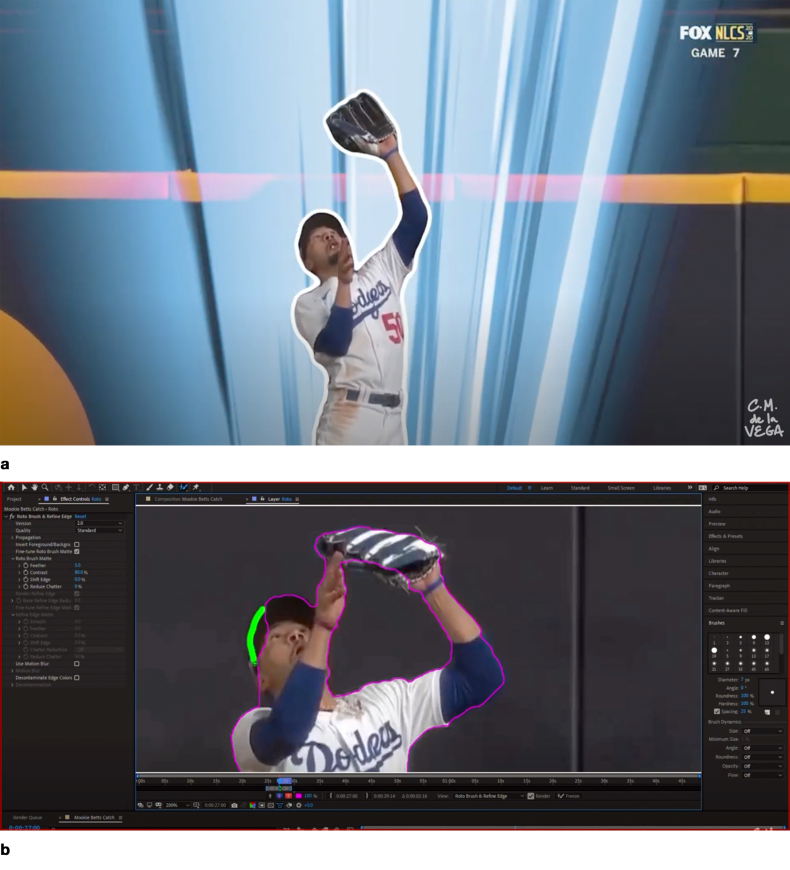 a) rotoscoped baseball player; b) Roto Brush 2 SS.  Roto Brush 2 extends the power of machine-learning to the laborious, time-consuming task of rotoscoping. Roto Brush 2 has learned to recognize the human form, and is thus able to isolate it, frame by frame, from a background. But even with the power of AI and machine-learning (b), Roto Brush 2 still requires some human input to produce the final matte. [Screenshots from CM de la Vega 'The Art of Motion Graphics' https://www.youtube.com/watch?v=uu3_sTom_kQ].