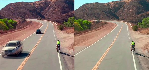 After Effects Content Aware Fill.  Applying artificial intelligence to moving video poses many challenges due to the consistency required for frame-to-frame tracking of gamma and color. The Content Aware Feature in Adobe After Effects takes advantage of the Sensei machine-learning algorithm to capture lonely scenes like this one without having to stop traffic on a busy highway.