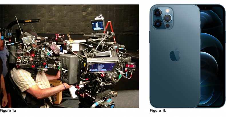 Figure 1a) The camera as a Christmas tree we all know and love versus the iPhone (b) the can-do everything device that is always at hand. We use the iPhone for pretty much everything these days from checking our email to ordering Uber Eats, so why not use it to capture our movies and TV shows?