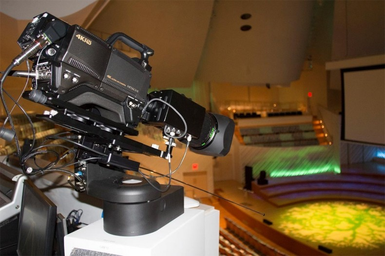 Hitachi Kokusai UHD4000 camera on Telemetrics head above concert platform.