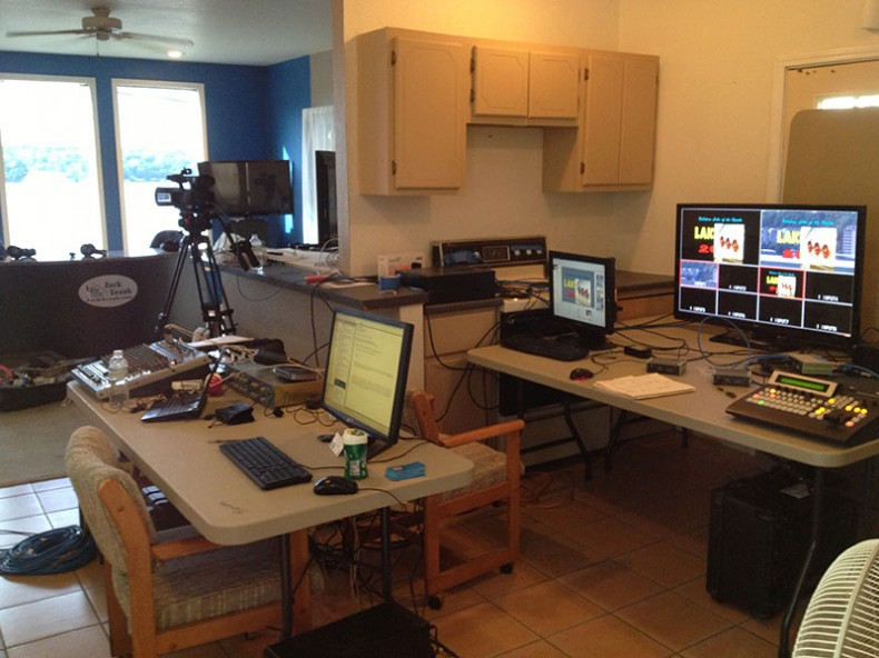 The vacant apartment / economy-sized control room was staffed with talent from the local TV stations.