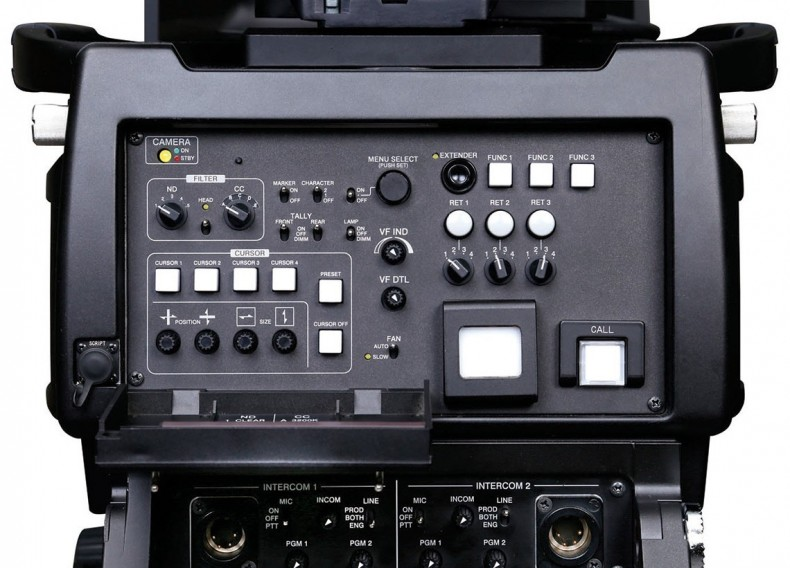 Operator's controls on the Ikegami UHK-435 studio/OB camera.