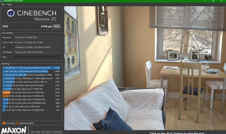 Figure 6: Cinebench R20 multi-thread score from a 2.6GHz 6-core 9750H/1660Ti.