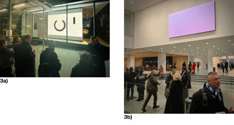 Fig 3a,b (Museum of Modern Art, New York).<br />If it's any consolation, DOPs and other artists face a similar quandary as advanced LED TVs are used increasingly to display their work in uncontrolled environments.  At New York's Museum of Modern Art, artists' work is presented on a public sidewalk, and in the rafters of the main entry hall. How can DOPs possibly anticipate the viewer experience? (And yes, the seemingly blank LED screen above the museum lobby is the art piece.)