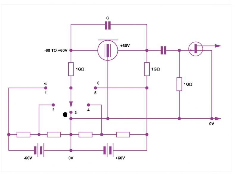 Fig.2 - Typical internal wiring of variable directivity microphone changes the polarizing voltages on one of the two diaphragms.