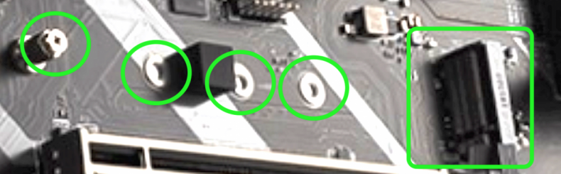 Figure 10: M.2 Slot with Four Mounting-posts for Different Length cards. (Courtesy MSI).