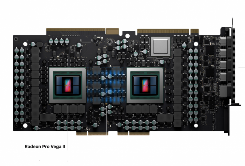 Figure 6: Apple Mac Pro MPX Module with pair Radeon Pro Vega II GPU Chips. (Courtesy Apple).