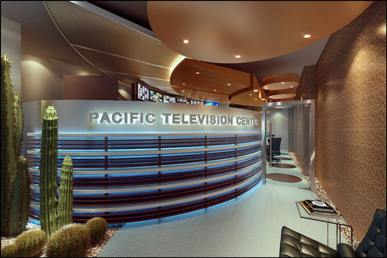 Rendering of London's PacTV reception area.