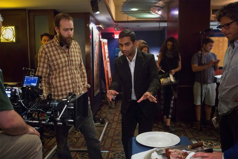 Cinematographer Mark Schwartzbard and Aziz Ansari discuss a shot. Photo credit: K.C. Bailey/Netflix.