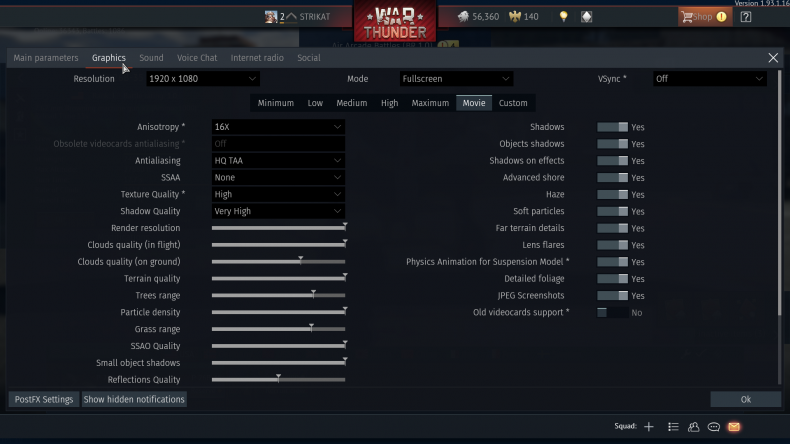 Figure 6: War Thunder Test Settings.