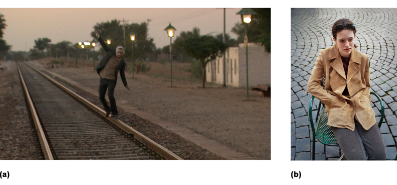 Striving to re-create the real world on screen, DOPs typically look for every opportunity to foster the three-dimensional illusion. In this scene (a), the narrowing of the railroad track communicates a strong sense of depth and realism. b) The goal of DOPs:  On this Rome street, the viewer understands logically that the stones at the top and bottom of the frame are the same size. If the stones don't appear that way, it must be because they are receding into the distance. – into the third dimension.