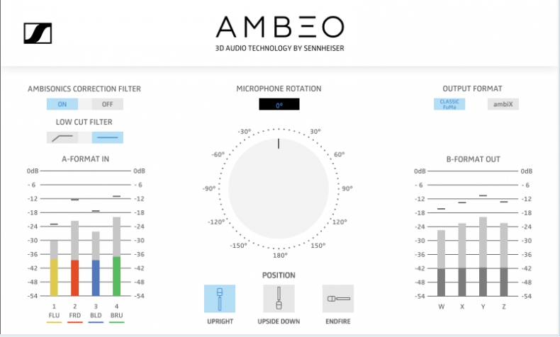 The Sennheiser AMBEO A-B converter for transforming A-Format channels into B-Format Ambisonics components.