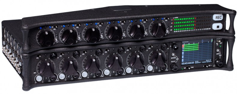 The 664 Field Production Mixer records up to 16 tracks of 16- or 24-bit broadcast WAV files to SD and/or CompactFlash cards.