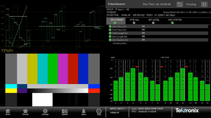Figure 2. Traditional video monitoring and audio bars are useful in confirming errors.