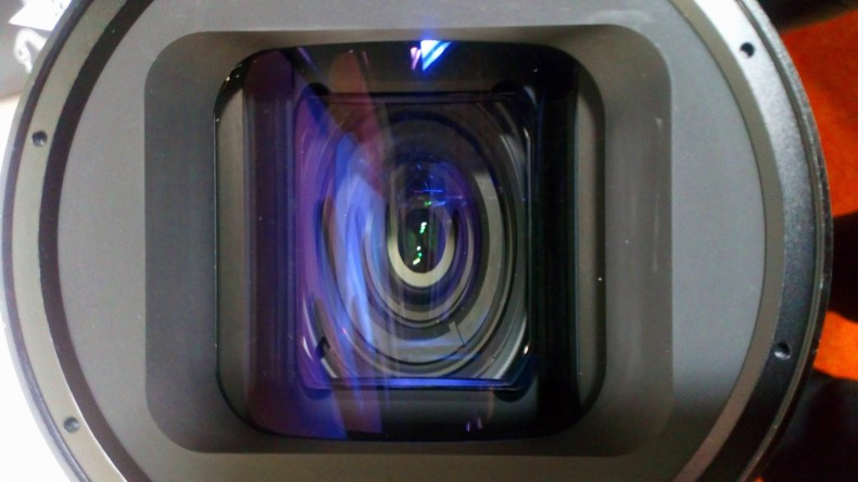 The horizontal compression effect is clearly visible on this anamorphic lens.
