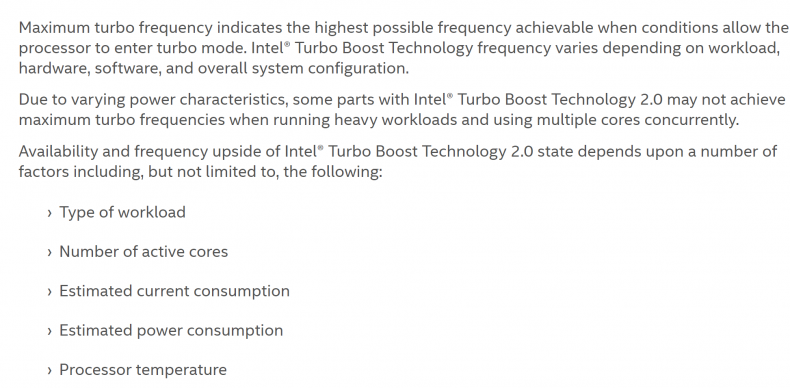 Figure 5: Turbo 2.0 Limitations. Courtesy Intel.