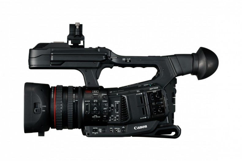 The Canon XF705 UHD HDR camcorder with HEVC recording records 4K to SD cards.