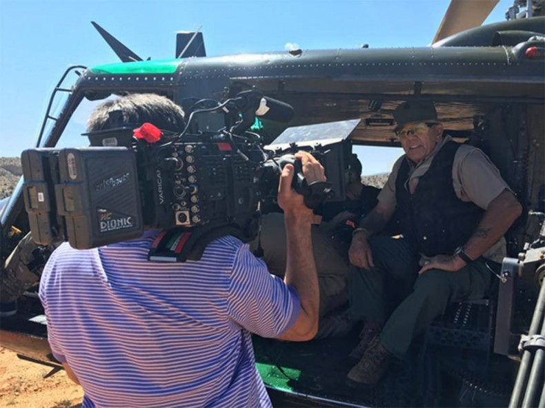 Left - Jim Hunziker, Camera Operator,  Right - R. Lee Ermey, Host; photo credit, Andrew Parke