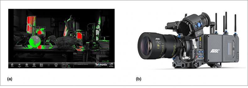 Figure 5.  a] false color; b] ARRI Alexa.