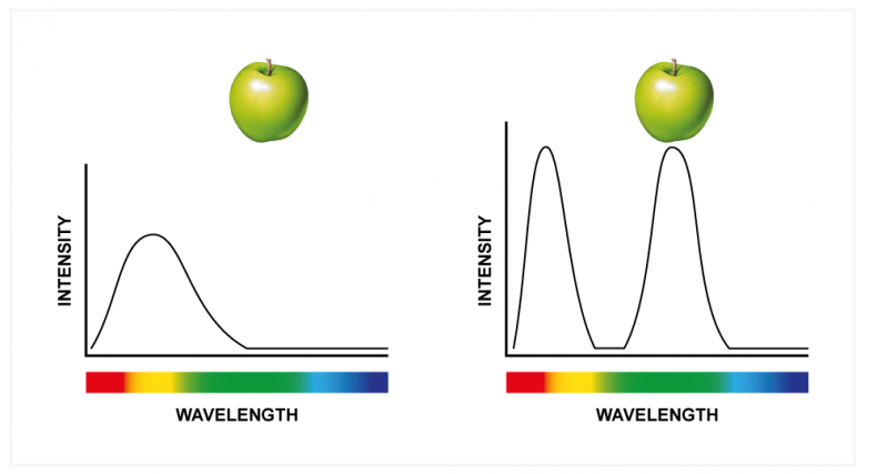 Diagram 2 - The diagram on the left shows an LED with significant distribution in the red and yellow but only partial distribution in the green spectrum. Using reflected light, the apple would look desaturated in a camera as there is not much green from the light source. However, the apple on the right would look highly saturated as there is significant green in the distribution. To the human visual system, both distributions would look the similar, but to a camera there would be a difference in saturation.