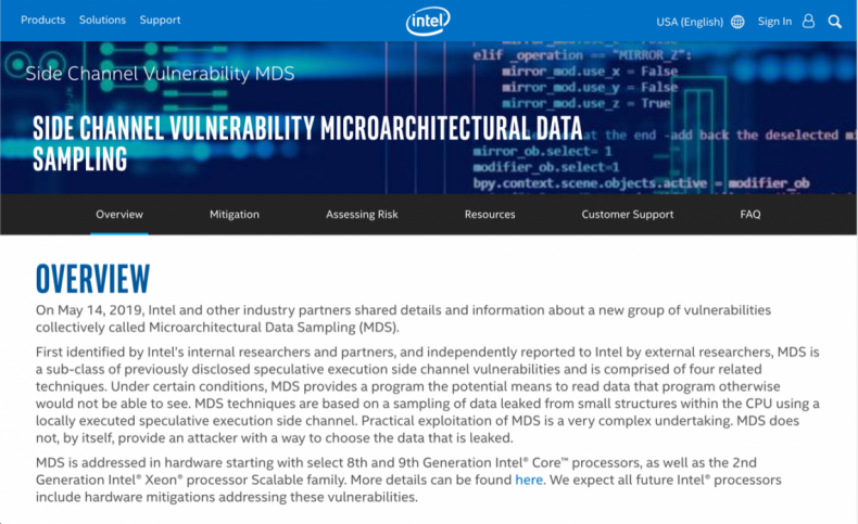 Figure 3: Intel Side Channel Vulnerability Microarchitectural Data Sampling Overview.