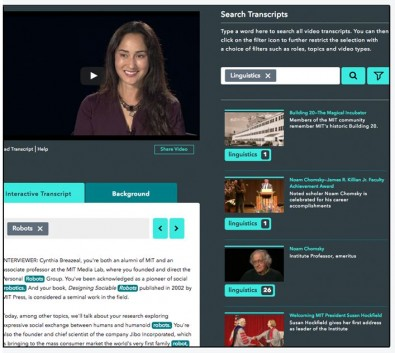 An 3Play interactive plugin to a website allows visitors to search the spoken audio and jump to any point in the video by clicking a word in the transcript.