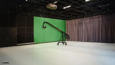 The new studio features three cameras and a lighting grid with energy efficient LED and fluorescent lights.