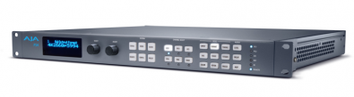 AJA Video's FS4 is a 4-Channel 2K/HD/SD or 1-Channel 4K/UltraHD frame synchronizer and up, down, cross-converter; in a 1 RU frame.