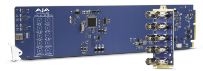 The AJA Video OG-12GDA-2x4 openGear 12G-SDI distribution amplifier features support for HDR video and Ross DashBoard software for remote monitoring.