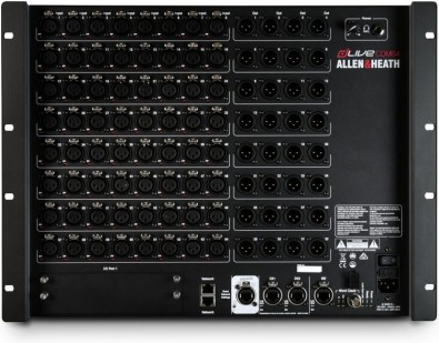 The MixRack is the heart of any dLive system, as it houses the Allen & Heath XCVI processing core that consists of audio I/O, control and audio networking ports.