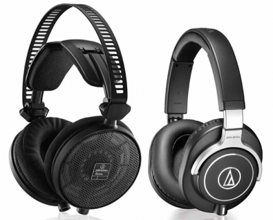 ATH-R70x headphones (left) are of open-back design. This means they are targeted for use in a studio (quiet) environment. The ATH-M70x headphones (right) are closed-back design. These headphones can be used in live (noisy) locations because they block ambient sounds.