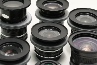 A full set of Nikon Series E stills lenses with simple modifications for motion picture work - 3D printed gears, step rings for consistent front diameters, and mount adaptors.