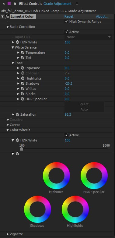 After Effects-Lumetri Color effects controls