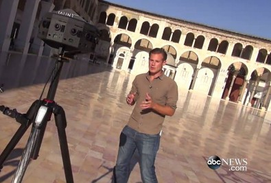 Alexander Marquardt of ABC's Nightline using VR technology in Damascus, Syria,