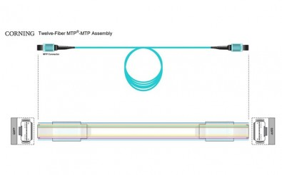This 12-fiber MTP to MTP assembly terminates in a QSFP connector.
