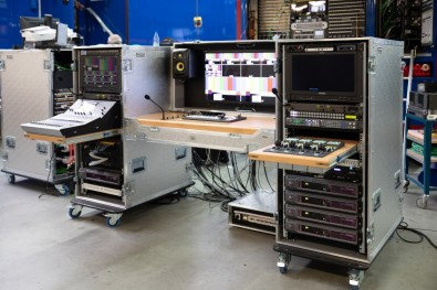 Each of the mobile studio flight case studios is designed for four HD cameras, a FOR-A compact production switcher and Ross Video router, a KVM system from Guntermann & Drunck and a Yamaha audio mixer.