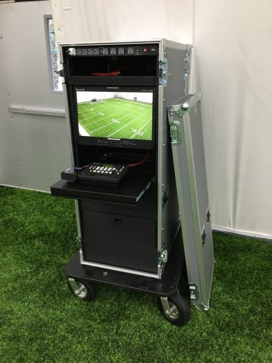 Bexel ESS designed and built a portable camera control case at Michigan State that is easy to set up — operators simply roll it out and connect it to the fiber patch panel and power, and they're good to go.