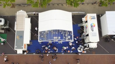At the recent IBC show, NEP hosted an outdoor exhibit to show off its new trucks, built by Broadcast Solutions.