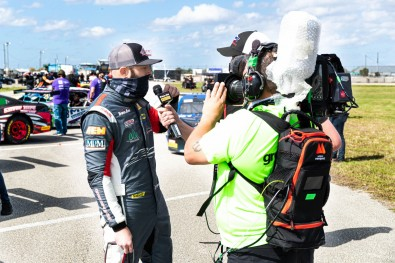 CP Communications worked with Greenlight TV to support live production and streaming for a Trans Am race event in Sebring, Florida, where the crew conducted all on-site interviews using face coverings and masks.